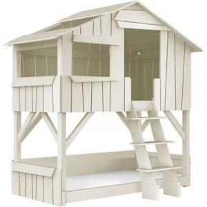 Lit cabane superposé enfant 90 x 190 cm finition laqué (26 coloris)