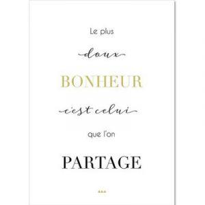 Carte citation Bonheur (15 x 21 cm)