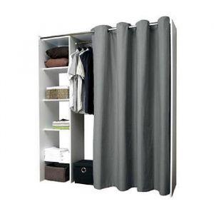 DRESS UP Dressing extensible anthracite 1 colonne - Dressing blanc à rideau gris anthracite avec 1 colonne lingère et 1 espace penderie