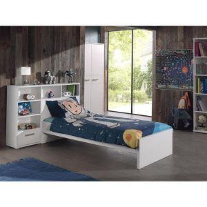 SOFIE Ensemble meubles de chambre enfant 2 éléments - Blanc - Lit 94,2x205x76cm, pont pour lit 148x31x108cm - Blanc - Structure en panneaux de particules