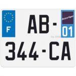 01 - Plaque d'immatriculation carrée en aluminium (département 01)