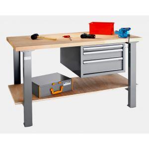 Etabli atelier plateau bois L.150 cm et bloc 3 tiroirs
