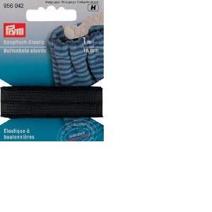 Elastique à boutonnières Noir tissé, largeur 18 mm, 1 Mètre