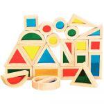 Blocs formes géométriques en bois - Boite de 24