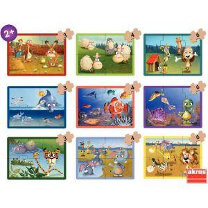 Valisette de 9 puzzles progressifs animaux en carton