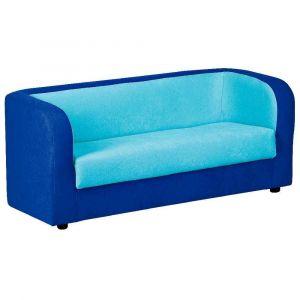 Sofa 3 places en tissu - Bleu foncé et turquoise