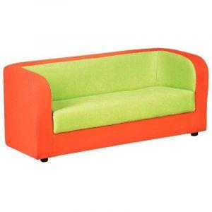 Sofa 3 places en tissu - Orange et Vert