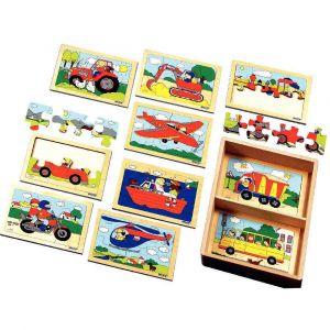Puzzles en bois 'Les véhicules' - 6 à 8 pièces - Boîte de 10