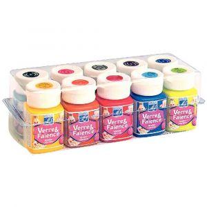 Peinture verre + faience - Boîte de 10 flacons de 50ml