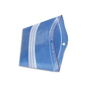 EMBALLAGE Boîte de 1000 Sachets plastique zip transparent bandes blanches 60 microns 32 cm ouverture 23 cm
