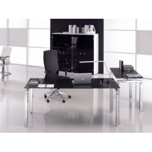 bureau verre gris comparer 180 offres. Black Bedroom Furniture Sets. Home Design Ideas