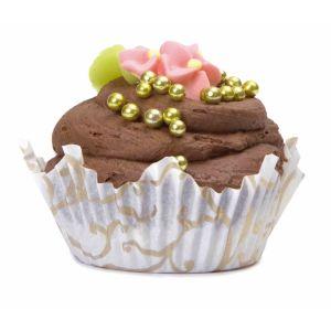 Moule Cupcake  papier 'Lila' blanc et doré ø7.5xht2.3 cm par 45