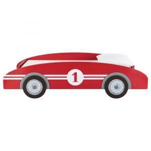 Lit voiture enfant 90 x 190 cm en bois rouge Circuit