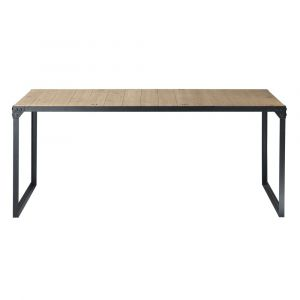 Table de salle à manger indus en bois et métal L 180 cm Docks