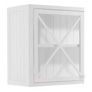 Meuble haut vitré de cuisine ouverture droite en pin blanc L 60 cm Newport