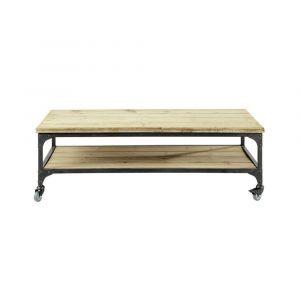 Table basse indus à roulettes en bois et métal L 110 cm Gallieni