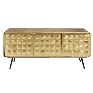 Buffet 3 portes en manguier massif et métal effet doré Gatsby