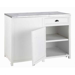 Meuble bas de cuisine ouverture gauche en bois blanc L 120 cm Newport