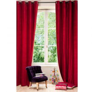 Rideau à Âœillets double face en velours lin rouge et beige 140 x 300 cm