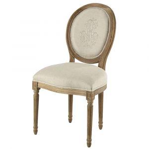 Chaise médaillon en lin naturel brodé et chêne grisé Louis