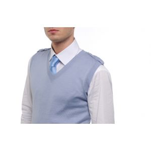 Pull Homme 100% Merinos Cyan Sans Manches a Col V Epaulettes
