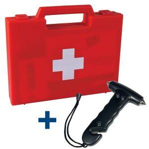 Trousse de secours véhicule + marteau/coupe-ceinture OFFERT