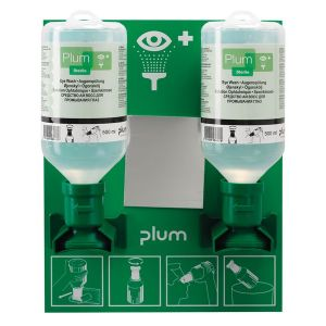 Station murale 2 flacons lavage oculaire Plum 500 ml