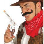 Revolver de cowboy en plastique couleur chrome avec crosse en imitation bois