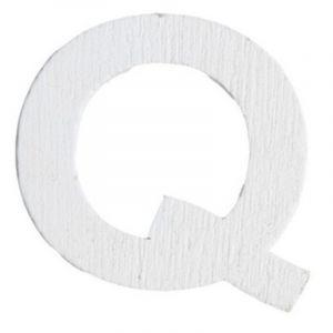 Lettre Q en Bois Blanc - 5 cm