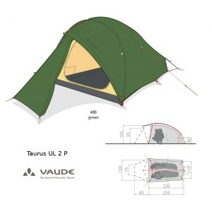 Tente Vaude Taurus UL 2P 12310  [3 saisons] - Vert