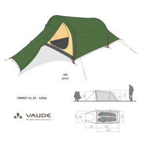 Tente Vaude Ferret UL 2P 12312  [3 saisons] - Vert