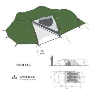 Tente Vaude Ferret XT 3 12305  [4 saisons] - Vert