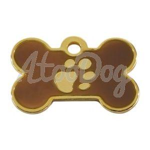 "Medaille Os ""Patte"" Marron Gravee  Chocolat3 x 2 cm"