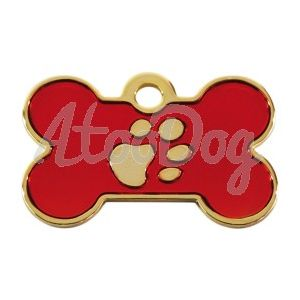 """Medaille Os """"Patte"""" Rouge Gravee  Rouge3 x 2 cm"""