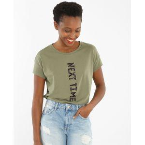 T-shirt à message pailleté Femme - Couleur vert - Taille M - PIMKIE - LA MODE FEMME