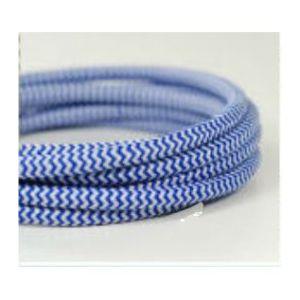 Fil électrique tissé fresque bleu/blanc vintage look retro en tissu