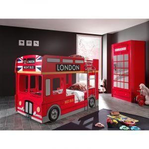 """Pack - Lit Superposé Enfant Bus & Armoire 2 Portes Cabine """"""""Londres"""""""" Rouge"""""""