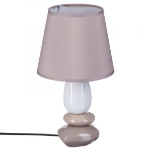 "Lampe à Poser """"Galets"""" 30cm Taupe & Blanc"""