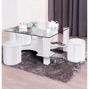 "Table Basse """"Magda"""" & 4 Poufs Blanc - Paris Prix"""