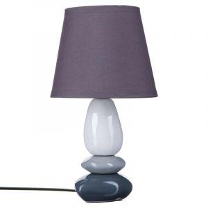 "Lampe à Poser """"Galets"""" 30cm Violet & Blanc"""