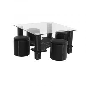 """Table Basse """"""""Magda"""""""" & 4 Poufs Noir - Paris Prix"""""""