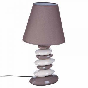 """Lampe """"""""Galets"""""""" Beige & Blanc 55cm  - Paris Prix"""""""