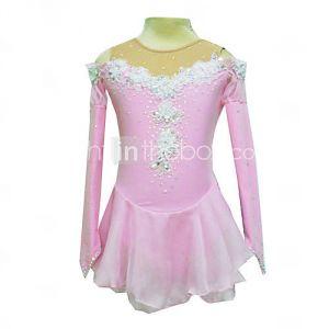 Tuniques de patinage Dumb lumière Spandex élastiques Fleurs en soie net Patinage artistique vêtements rose