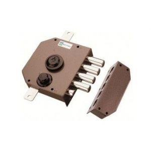 Serrure Mottura série 630 avec 5 clés Serrure 3 points marron Poussante à droite AF373296D+