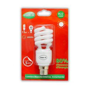 Ampoule fluo compacte 15W (80W) B22 Spirale Blanc jour - VISION-EL