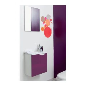 Aqua+ - Meuble lave-mains aubergine à suspendre 40cm livré monté - VERSOS - LT AQUA +