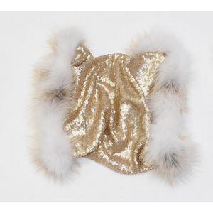 Écharpe pailletée or en laine et fourrure de renard