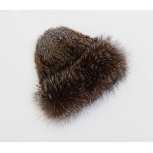 Bonnet en laine d'agneau et fourrures de raccoon et lapin