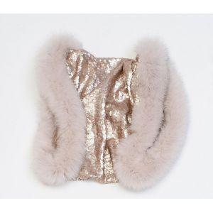 Écharpe pailletée rosée en laine et fourrure de renard