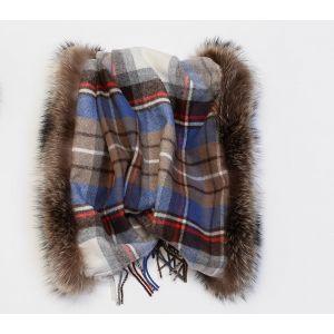 Écharpe à carreaux en laine et fourrure de raccoon